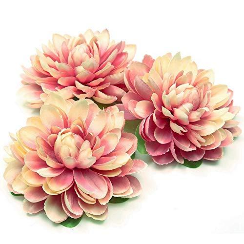 rainbowhh Flores Artificiales 11 cm Cabeza de Flor de Seda de Margarita Grande para la decoración del hogar de la Boda Corona de Flores de Bricolaje Cabeza de Flor Falsa 5 Piezaschampán púrpura