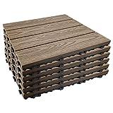 "Annurssy 6 Pack Interlocking Deck Tiles 12"" x 12"" Wood Plastic Composites Deck Tiles Waterproof Corrosion Resistance for Walkway Balcony Patio Deck Indoor & Outdoor Flooring (6, Brown Wood Grain)"