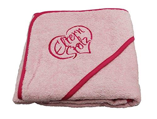 Elternstolz Handtuch Baby Badetuch mit Kapuze 80x80cm Ökotex Hochwertig Bestickt (pink)