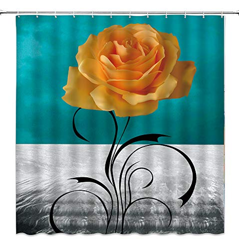 AMHNF Blue Rose Shower Curtain Yellow Rose Flower Black Abstract Leaf Gray Dark Teal Turquoise Background Romance Vintage Rustic Modern Print Home Bathroom Decor Fabric Curtain with Hooks