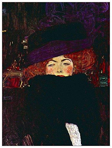 ArtPlaza Klimt Gustav-Lady met hoed en veren decoratiepanel, hout, meerkleurig, 60 x 1,8 x 80 cm
