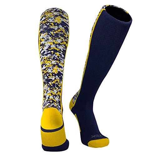 TCK Digital Camo Elite Navy Blue Gold Knee High Baseball Football Soccer Socks (Medium (6-9))