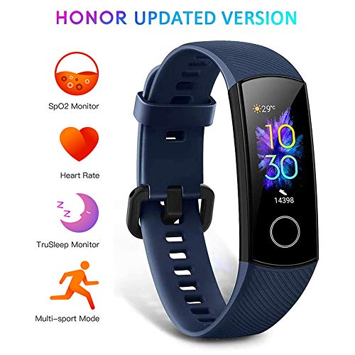 HONOR Band 5 Montre Connectée Podometre Cardio Montre Intelligente Bracelet Connecté Sport Running Sommeil Calorie Smart Watch Android iOS Smartband, Bleu