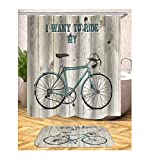 Abellale Bad Duschvorhang Fahrrad Polyester Duschvorhang 180x200 cm
