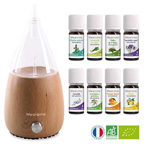 DIFFUSEUR nébuliseur + 8x10 ml HUILES ESSENTIELLES BIO - Coffret kit pour cuisine, aromathérapie & diffuseur, verre et bois - 8 flacons de 10 ml d'huiles essentielles 100% pures et naturelles