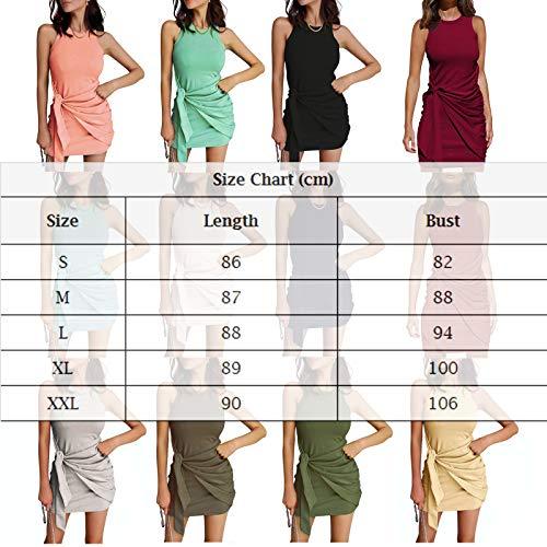 Vestido Casual Verano para Mujer Vestido Camiseta Sin Mangas Casuales Suelto Vestido Color Sólido hasta Rodillas para Diario Playa Vacaciones (Verde Oliva, XL)