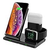 Hoidokly Cargador Inalámbrico, 3 en 1 Soporte de Carga para iPhone y Apple Watch, Base de Carga Rápida para iWatch 1/2/3/4/5, AirPods, iPhone SE/11/11 Pro MAX/XS MAX/XR/X(No Cable de Carga del iWatch)