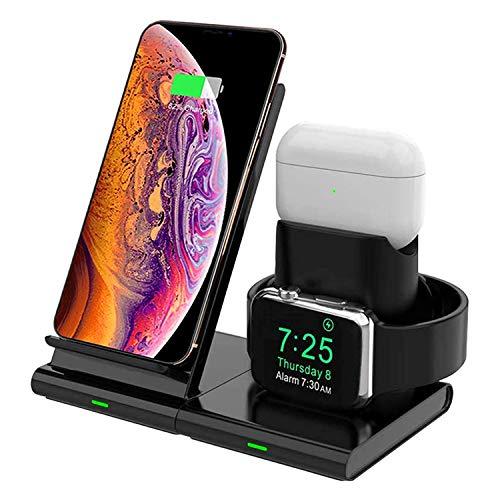 Hoidokly 3 in 1 Caricatore Wireless, Qi Ricarica Rapida Wireless, 7.5W Caricabatterie Senza Fili Stand Charger per iPhone SE 2020/11 PRO Max/11/XS/XR/X/8 Plus/8, Apple Watch 5/4/3/2/1 e Airpods 2/PRO