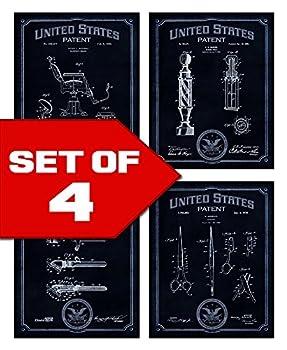 Wallables Navy Blue Barbershop Patents Decor Set of Four 8x10 Vintage Barber Shop Themed Decorative Prints Great for Barber Shop Bachelor pad Office Bathroom Living Room