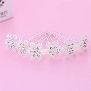 LUKEEXIN Bridal Head Flower Hairpin Wedding Jewelry Dice Wedding Dress Accessories (Color : White)