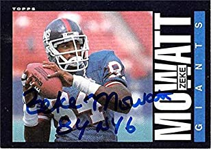 Zeke Mowatt autographed football card (New York Giants) 1985 Topps #121