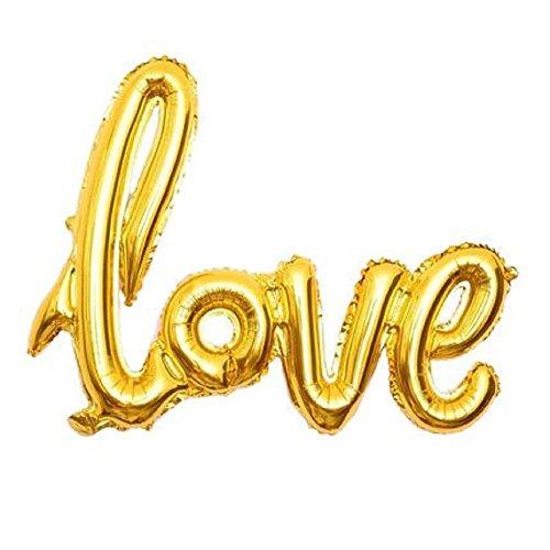 SiDeSo® Folienballon XXL Herz Love Heliumgeeignet Party Geburtstag Jahrestag Hochzeitstag Jubiläum Luftballon (Love Gold)