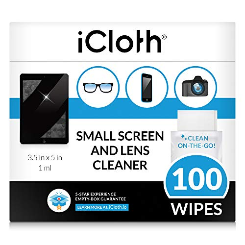 iCloth Lens Cleaning Wipes [5 x 3.5 Inches - 100 Wipes] Safe for All Screens, Electronics & Glasses. Streak & Lint Free, Individually Wrapped, 1 Wipe Can Clean Camera, Smartphone, and Pair of Glasses