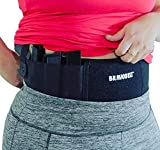 BRAVOBELT Belly Band Holster for Concealed Carry - Athletic Flex FIT for Running, Jogging, Hiking - Glock 17-43 Ruger S&W M&P 40 Shield Bodyguard Kimber (Up to 44' Belly, Black)