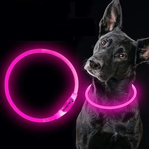 ELANOX Collar de perro LED recargable USB tamaño universal luminoso (rosa)
