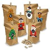 Calendario de Adviento de itenga con 24 bolsas de regalo de papel, pinzas de...