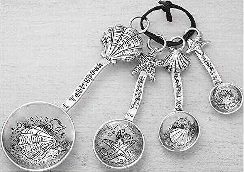 4-piece Measuring Spoon Set Clamshell Finally popular brand Starfish Sp Max 56% OFF Silver-toned