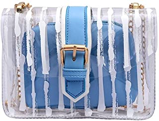 HMJZLyy Small Shoulder Bag New Wave Wild Diagonal Bow Small Square Package (Color : Blue)