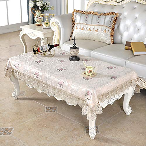 Small Rectangle Lace Beige Tablecloth Embroidered Table Cover Coffee Table Cloth for Kitchen Dinning Living Room Wedding Home Decor 39 x 55 Inch