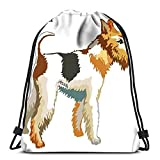 Mochila con cordón para Deportes, Retrato de Perro Fox Terrier, Colorida, con cordón Blanco, para el Gimnasio en la Escuela