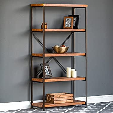 Best Choice Products 4-Tier Rustic Industrial Bookshelf for Living Room, Bedroom w/Metal Frame, Wood Shelves - Brown