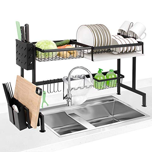 Dish Drying Rack Homeweeks Kitchen Stainless Steel Dish Rack Over Sink Dish Drying Rack Drainer Shelf with Utensil Holder Storage Shelf Space Saver Display Stand