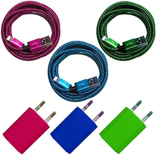 Nylon USB 8-Pin oplaadkabel datakabel oplader compatibel met [Apple iPhone XS XR XS Max X 10 8 8Plus 7 7Plus 6S 6SPlus 6 6Plus 5S 5C 5 SE | iPad | iPod] bont 1m Premium 3er Set + Netzteile