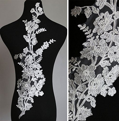 Off-White Floral lace Applique Embroideried Motives Flower Trims Sew on Bridal Dress Wedding Gown Dance Costume