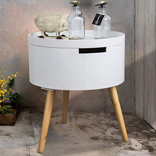 Nachtkastje LKU Moderne creatieve ronde salontafel met tafelblad opbergruimte kleine tafel Scandinavisch slaapkamermeubilair, wit