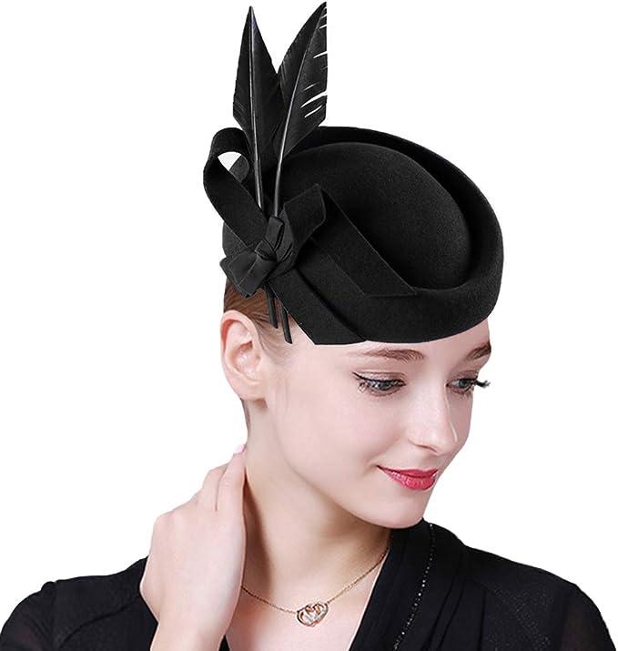 1940s Style Hats   Fascinator, Turban, Fedora F FADVES Vintage Womens Dress Fascinator Wool Pillbox Hat Formal Church Wedding Tilt Hat  AT vintagedancer.com