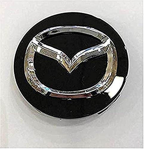 FTGYHUJKILO 4 x 56 mm Tapas centrales para bujías de Llantas de aleación Negra para Mazda Compatible con Mazda 2, 3, 5 y 6