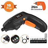 TACKLIFE Classic Electric Screwdriver, 3.6V Max Cordless Screwdriver Rechargeable with Micro USB, Front LED Light, 10 pcs Screwdriver Bits, 3 Battery Indicator, Compact and Lightweight Design-SDP60DC