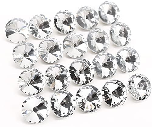 100pcs Botones Redondos en cristal transparente diamantes cabecero de cama sofá capitonnage diámetro 20mm