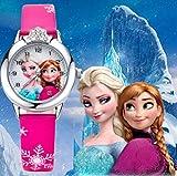 RJM Montre Quartz Fille Frozen Princesse des neiges Elsa et Anna Bracelet Cuir Rose Mode Fille étudiante (Cadran affichante Elsa et Anna) (Anna Elsa Rose foncé)