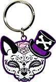 Miss Cherry Martini - Top Hat, Black & White Cat, Cheeky Tophat Cat Sugar Skull - Awesome Metal Keychain - 1.75
