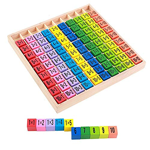 Lamptti 99 Multiplikationstisch Math Spielzeug Umweltschutz Puzzle Frühes Lernen Kunst Puzzle Mathematik Übung Fähigkeit Holzspielzeug Multiplikationstisch Kinder Spielzeug (Bunt)