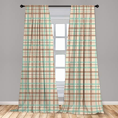 """Ambesonne Plaid 2 Panel Curtain Set, Scottish Country Style Tartan with Abstract Design Diagonal Striped Lines, Lightweight Window Treatment Living Room Bedroom Decor, 56"""" x 84"""", Mint Green"""