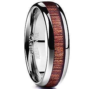 [Vakki(ヴァッキ)] タングステン コアウッド 木製 指輪 メンズ リング 甲丸 シンプル 幅:6mm 25号
