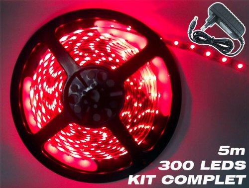 Kit complet Ruban LED Professionnel Flexible - 5 Mètres - 60 LED/M - Couleur ROUGE - 3528