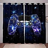 Homemissing Cortinas para juegos de galaxia, color morado, para dormitorio, para niños, videojuegos, juegos de video, gamepad, ventanas, juego W46 x L54