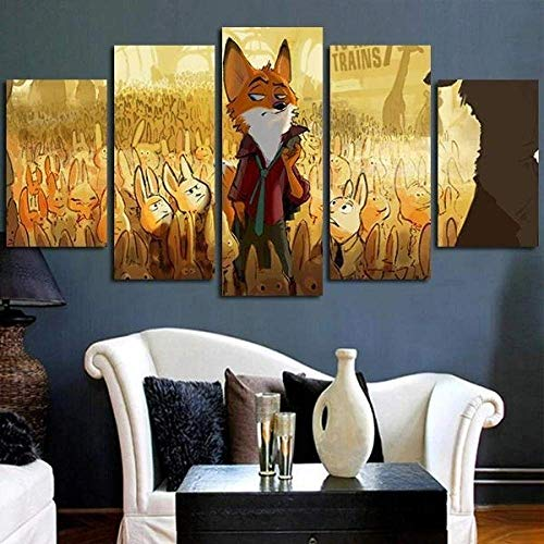 Airxcn Drucke auf Leinwand 5-teilige Tafeln Wandkunst drucken Leinwand Malerei Nick Wilde Charakter in Zootopia Wanddekor Raum Poster Leinwand