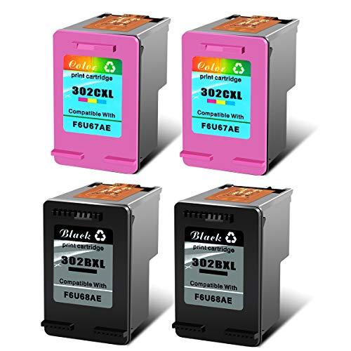 Cartouches d'encre 302XL 302 XL remanufacturées NineLeaf Compatible avec Les imprimantes HP Deskjet 1110 2130 1115 2132 3632 HP Envy 4520 4527 4524 HP Officeje 2 Noir + 2 Couleur Paquet de 4