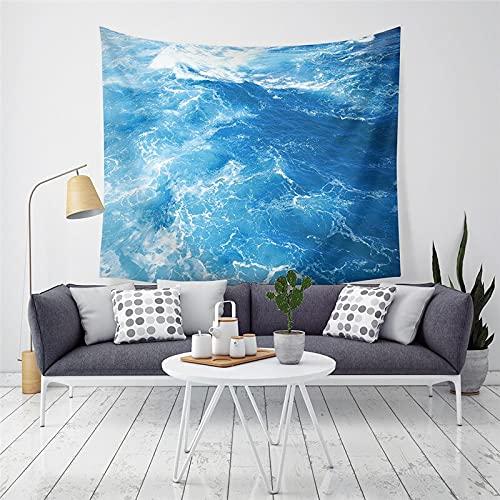 KHKJ Sol Mar Tapiz Océano Playa Colgante de Pared Paisaje de Agua Decoración de la Playa Nube Azul Azul Manta espumosa Hecho a Mano A8 150x130cm