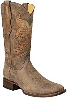Men's Brown Overlay Square Toe Cowboy Boots R1432