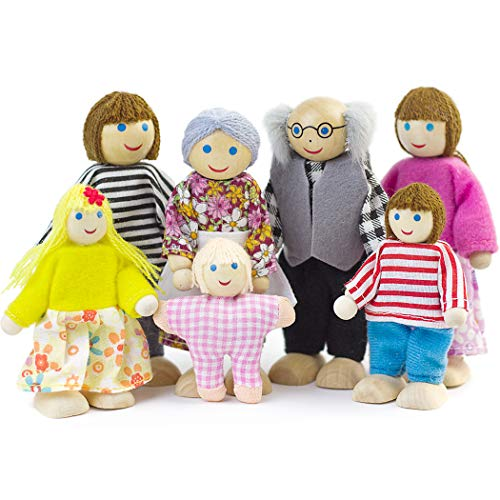 Dollhouse People, Dolls Family of 7 Poseable Wooden Doll