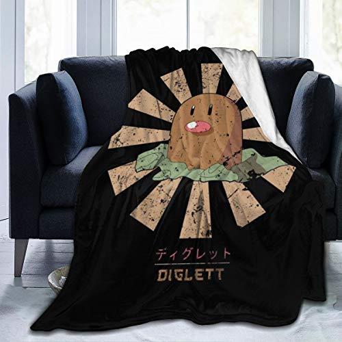 NUJSHF Diglett - Coperta in flanella di pile stile retrò giapponese con mostro della tasca, leggera, ultra morbida, calda, adatta per divano, 130 cm x 150 cm