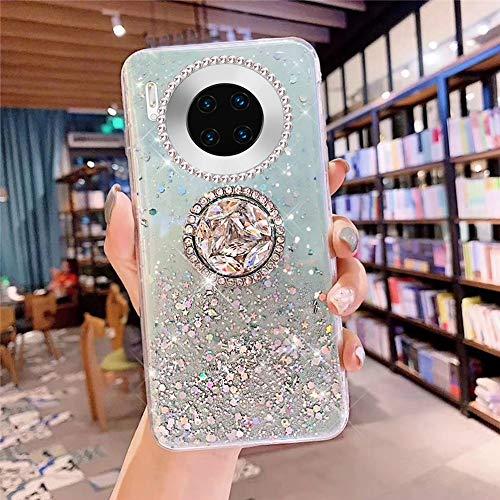 Kompatibel mit Huawei Mate 30 Pro Hülle Handyhülle mit 360 Grad Handyring Halter Ständer Glitzer Bling Glänzend Strass Diamant Weich TPU Silikon Schutzhülle Durchsichtig Clear Tasche Case,Grün