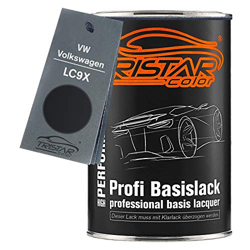 TRISTARcolor Autolack Dose spritzfertig für VW/Volkswagen LC9X Deep Black Perl/Black Perl Basislack 1,0 Liter 1000ml