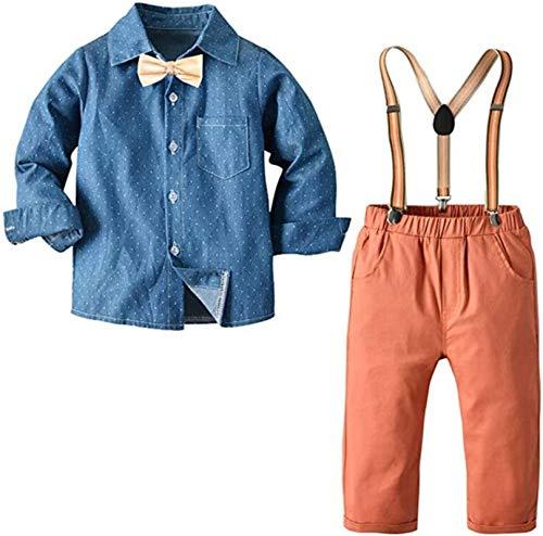 FAIRYRAIN Kinder Jungen Gentleman 2 Stücke Langarm Hemd+Hose+Hosenträger+Fliege Set Baumwolle Anzug Kleidung Outfits 120