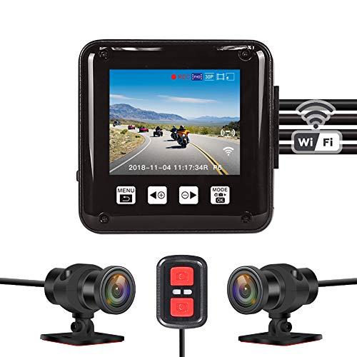 Vsysto Dash cam, Sport Accident Proof Camera DVR, Full Body Waterproof, with 2'' Screen, IMX323, Front and Rear Camera Driving Recorder for Motorcycle, Bike (1080p+1080P)